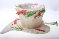 372-2А Кашпо из сизаля Чашка на листе (h11 d30см) - Белый