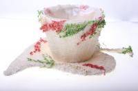 кашпо для цветов 372-2а кашпо из сизаля чашка на листе (h11 d30см) - белый 2467