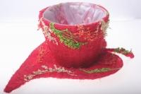 372-2А Кашпо из сизаля Чашка на листе (h11 d30см) - Красный