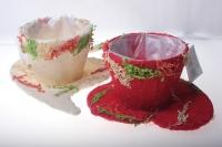кашпо для цветов 372-2а кашпо из сизаля чашка на листе (h11 d30см) - красный 2467