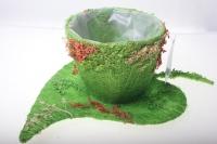 372-2А Кашпо из сизаля Чашка на листе (h11 d30см) - Зелёный