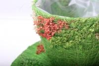 кашпо для цветов 372-2а кашпо из сизаля чашка на листе (h11 d30см) - зелёный 2467