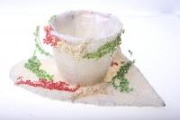 373А Кашпо из сизаля Чашка на листе (h9 d25см) - Белый
