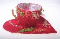 373А Кашпо из сизаля Чашка на листе (h9 d25см) - Красный
