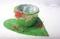 373А Кашпо из сизаля Чашка на листе (h9 d25см) - Зелёный