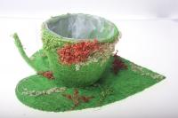 кашпо для цветов 373а кашпо из сизаля чашка на листе (h9 d25см) - зелёный 2468