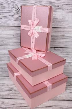 Набор подарочных коробок из 3 шт - Прямоугольник блестки розовый 29*21*9см  В755