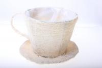 8101-1 Кашпо из сизаля Чашка с блюдцем (h11 d14см) - Белый