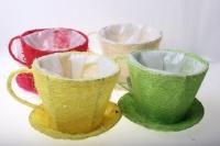 кашпо для цветов 8101-1 кашпо из сизаля чашка с блюдцем (h11 d14см) - белый 2470