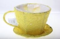 кашпо для цветов 8101-1 кашпо из сизаля чашка с блюдцем (h11 d14см) - жёлтый 2470