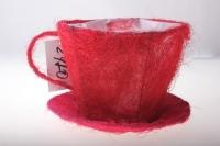 8101-1 Кашпо из сизаля Чашка с блюдцем (h11 d14см) - Красный