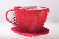 кашпо для цветов 8101-1 кашпо из сизаля чашка с блюдцем (h11 d14см) - красный 2470