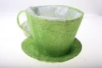 8101-1 Кашпо из сизаля Чашка с блюдцем (h11 d14см) - Зелёный