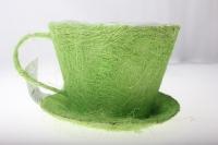 кашпо для цветов 8101-1 кашпо из сизаля чашка с блюдцем (h11 d14см) - зелёный 2470