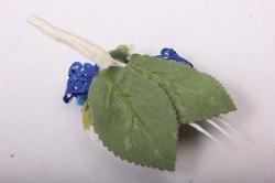 """Бутон """"Пион"""" (2шт в уп) белые пионы/синие тычинки h=12cm"""