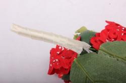 """Бутон """"Пион"""" (2шт в уп) белые пионы/красные тычинки h=12cm"""