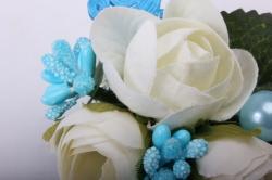 """Бутон """"Пион"""" (2шт в уп) белые пионы/голубые тычинки h=12cm"""