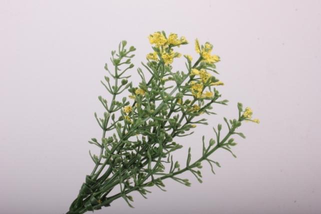 Искусственное растение-Веточки желто-салатовые с соцветием 20см  (6шт в уп)  GAP19  6446