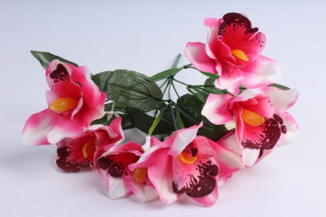 Искусственное растение - Орхидея букет бело-розовая
