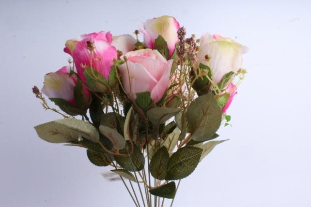 Искусственное растение - Розы ретро Акварель розовый/малиновый