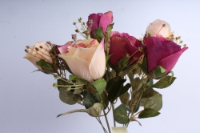 Искусственное растение - Розы ретро Акварель персиковый/малиновый