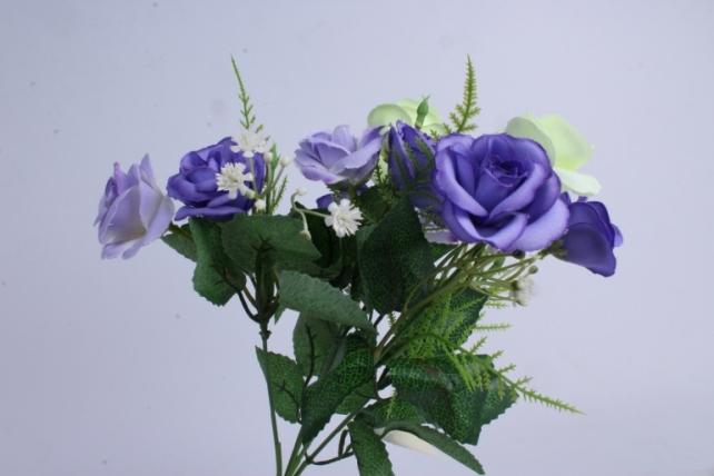 Искусственные растения - Розочка с гипсофилой шампань/фиолетовая 35см