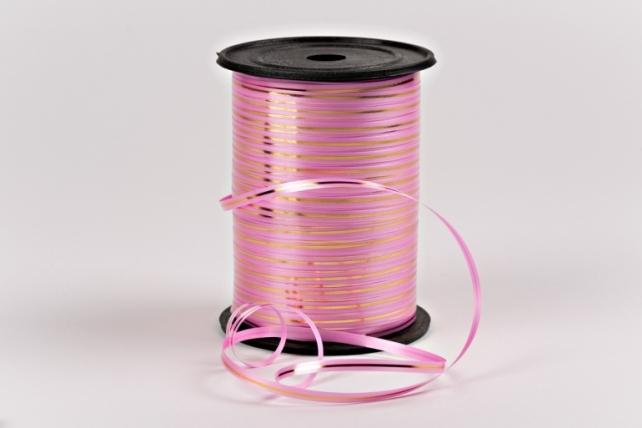 Подарочная Декоративная Лента с золотой полосой - 0.5х250у Ярко-Розовая A0544