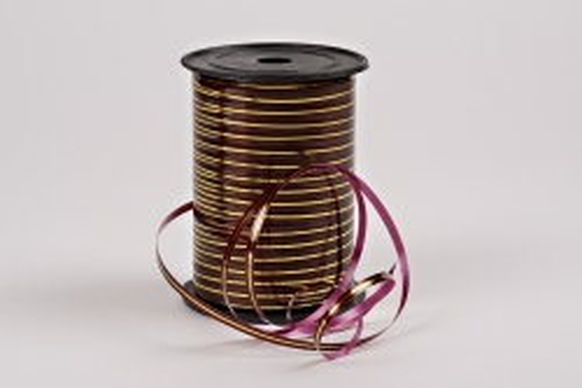 Лента с золотой полосой (0,5см х 250ярд) A0545 БОРДО