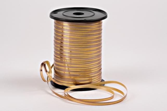 Подарочная Декоративная Лента с золотой полосой - 0.5х250у Бронзовая A0533