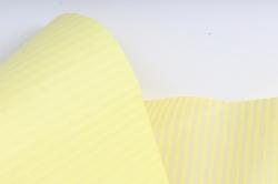 """Бумага цветной Крафт (Б) """"Полоска малая"""" Белый на желтом 60гр/кв.м (60см*10м)"""