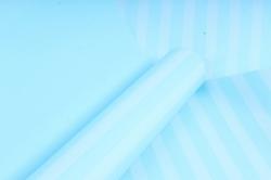 """Бумага цветной Крафт (Б) """"Полоска большая"""" Белая на бирюзе 60гр/кв.м (60см*10м)"""