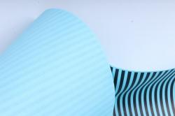 """Бумага цветной Крафт (Б) """"Полоска малая"""" Черный  на бирюзе 60гр/кв.м (60см*10м)"""