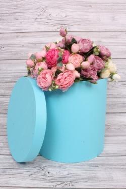 Подарочная коробка одиночная - Цилиндр Голубой перламутр 29.5*29.5см Пин30/30-Гол