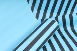 """Бумага цветной Крафт (Б) """"Полоска большая"""" Черная на бирюзе 60гр/кв.м (60см*10м)"""