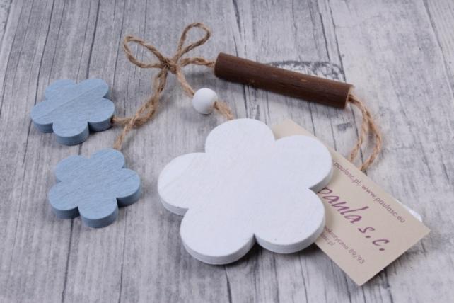 Подвеска из дерева Цветок Ромашка белая с голубым 6*18см ZL16017