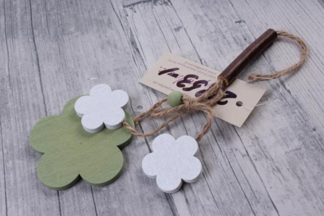 Подвеска из дерева Цветок Ромашка оливковая с белым 6*18см ZL16017  3760