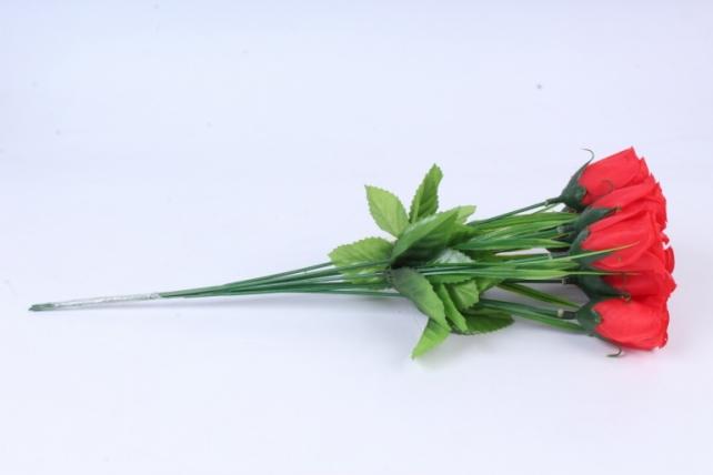 искусственное растение - розы одиночные (10 шт в уп) красные