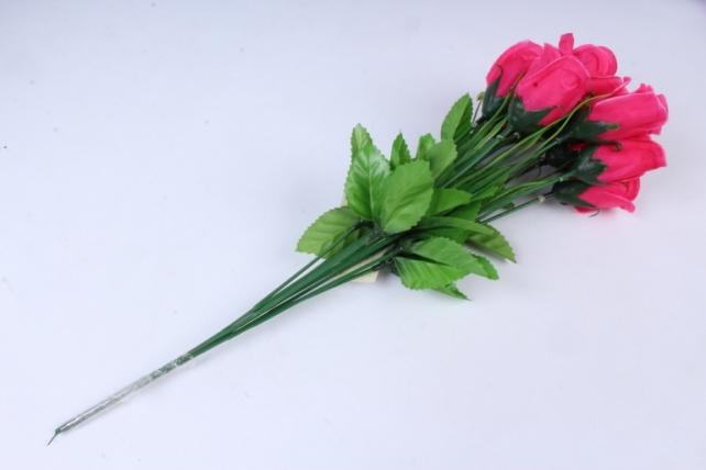 искусственное растение - розы одиночные (10 шт в уп) малиновые