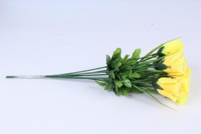 искусственное растение - розы одиночные (10 шт в уп) лимонные