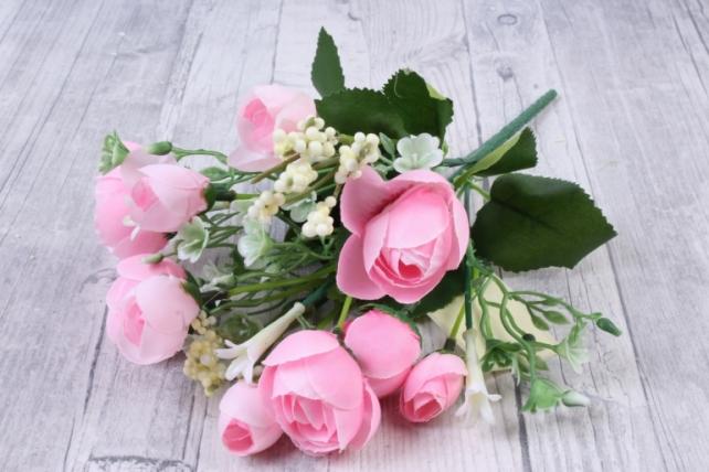 искусственное растение - ранункулюс с белыми ягодами розовый