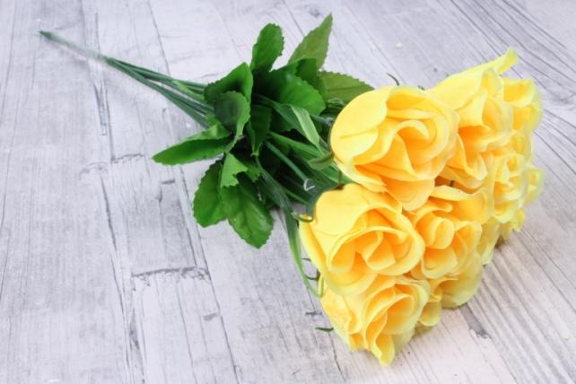 искусственное растение - розы одиночные (10 шт в уп) желтые