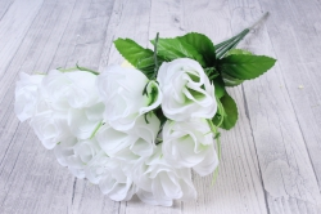 искусственное растение - розы одиночные (10 шт в уп) белые