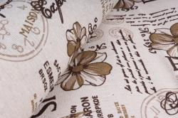 Лен с рисунком 48см*5ярд париж коричневый