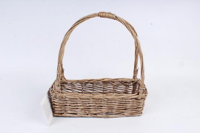 Корзина плетеная (ИВА) - Прямоугольник-сумка серый   1шт  7483