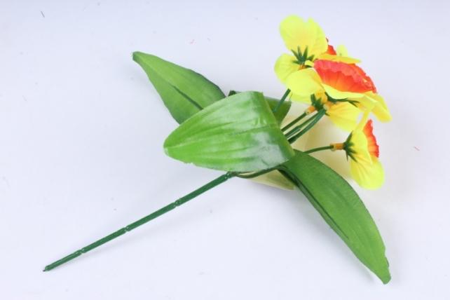 Искусственное растение - Нарциссы  красно-жёлтые