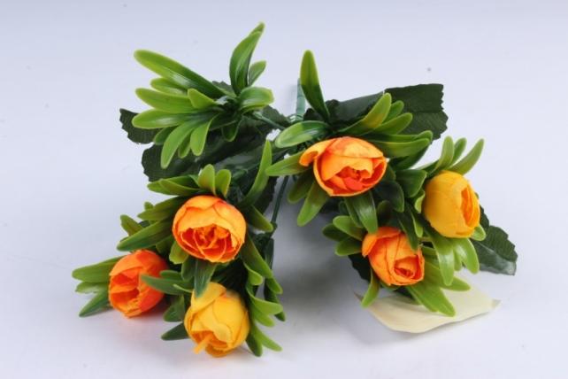 Искусственное растение - Ранункулюс пастель жёлто/оранжевый