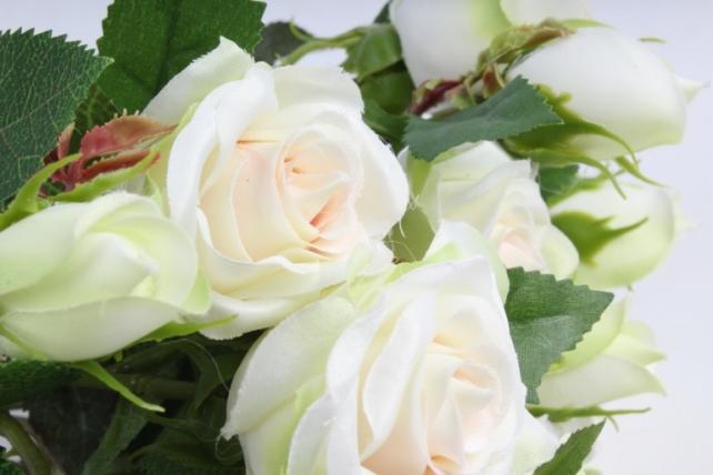 Искусственное растение - Ветка Розы 35см кремовый (12 шт в уп) SUN452