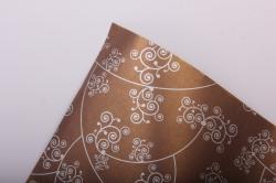 """Бумага на золотой основе """"Узор"""" (коричневый) 53см*10м GOL-1006"""