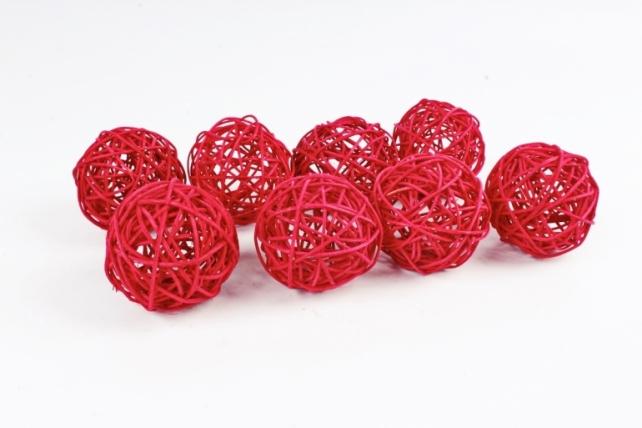 Набор Шар ротанговый красный 7,5 см (8шт в уп) CS8A233 3''
