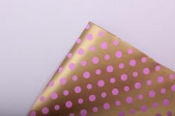 """Бумага на золотой основе """"Горох"""" (розовый) 53см*10м GOL-1051"""
